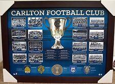 CARLTON BLUES HISTORIC PREMIERSHIP HISTORY PRINT FRAMED - AFL - BROWNLOW