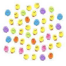 Set of 44 Yellow & Multicolour Mini Easter Fluffy Chicks Bonnet Decoration