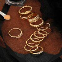12 Pcs/set Gold Punk Jewelry Knuckle Rings For Women Girl Midi Finger Ring Set