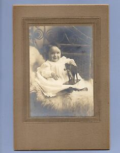 Vintage Photograph Baby with Toy Cow ANTIQUE CABINET CARD 1910s/1920s