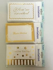 Invitations Lot You're Invited 24 Paper Cards Envelopes Gold White Flomo Party
