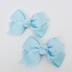 "Girls Set of 2 Cross Grain Ribbon Hair Bow Clips 3.7"" Long- Baby Blue"