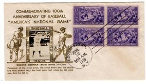#855 Baseball 1939 First Day Cover - Crosby Babe Ruth Planty #27a Gold