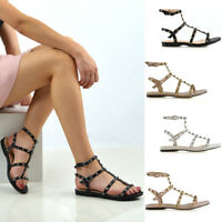 Womens Studded Flat Strappy Sandals Ladies Gladiator Summer Holiday Shoes Size