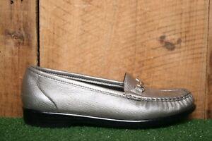SAS 'Metro' Pewter Metallic Leather Bit Loafers Comfort Shoes Sz. 6.5 M