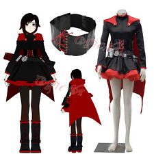 Cafiona Red Trailer RWBY Ruby Rose Cosplay Costume Dress and Cloak Set Any Size