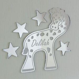 Giraffe Mirror Personalised Door Name Plaque Boy Girls Bed Room Sign