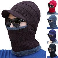 Men Women Knit Full Hat Winter Warm Visor Beanie Fleece Lined Scarf Brim Ski Cap