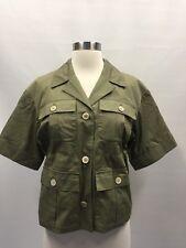 JCrew Collection Safari Jacket In Italian Cotton Army Green Sz 0 G5006