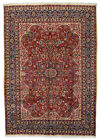 Vintage Floral Oriental Rug, 8'x11', Red/Blue, Hand-Knotted Wool Pile