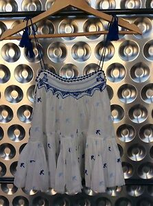 NWT Free People (65% off) Embroidered Ivory & Blue Crinkle Tank w/Tassel Ties XS