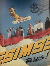 Sims Snowboard Print Ad 10x8 Magazine Ad 1988