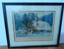 "Currier & Ives Hand Colored Lithograph Falls ""Des Chats."" Framed 1860"