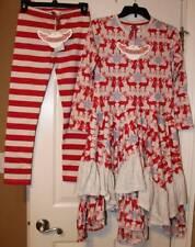 NWT Paper Wings Festive Reindeer Ruffle Dress Candy Stripe Leggings 12 Yrs