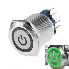22mm 12V Green LED Latching Push Button Switch 1NO1NC Stainless Steel Waterproof