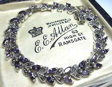 Assay Hallmarked Sterling Silver Marcasite Stone & Amethyst Crystal BRACELET