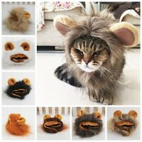 1X Pet Hat Costume Lion Mane Wig For Cat Pets Halloween Dress Up With Ears NICE