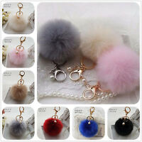 8cm Faux Rabbit Fur Ball Keychain Keyring Pompom Charm Fluffy for Handbag/Phone