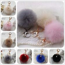 Faux Rabbit Fur Ball Keychain Keyring Pompom Charm 8cm Fluffy for Handbag/Phone