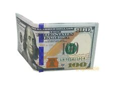 $100 Hundred Dollar Bill Wallet Thin Bi-Fold Credit Card Holder Money Benjamin