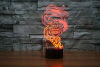 3D night light led lamp skull snake optical illusion 7 color led touch desk gift
