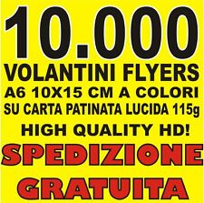 STAMPA 10.000 VOLANTINI FLYERS A6 10X15 CM A COLORI! SPEDIZIONE GRATUITA!
