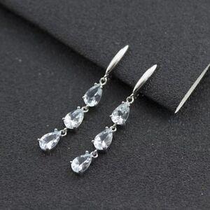 Natural color gemstone dangle earrings Aquamarine .925 Sterling Silver 445LA