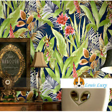 Tropical Palm Leaf Pink Orchid flower Raddish Blue wallpaper 10M Roll