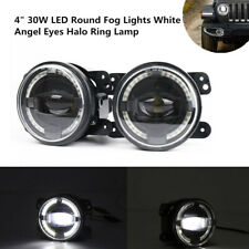 "4""30W LED Fog Light White Angel Eyes Halo Ring Lamp2000LM Universal Fit For Jeep"