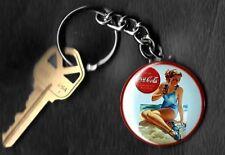 Coca-Cola Beautiful Girl Advertisement COKE Keychain Key Chain 1950's Blue