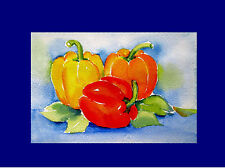 """Peppers Colorful Watercolor Painting ORIGINAL Fruit stillife  4""""x6 """" Kitchen Art"""