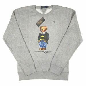 Polo Ralph Lauren Men's Bear Logo Jumper Sweatshirt Grey Limited Edition size S