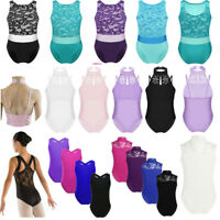 Girl Lace Ballet Dance Gymnastics Leotards Sleeveless Bodysuit Dancewear for Kid