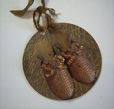 Vintage Art Deco Nouveau Ladies Women Shoes Double Match Stick Safe Brass Holder
