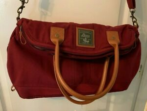 G.H. Bass & Co. Cotton Canvas Foldover Laptop Satchel in Red
