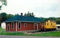 Iola Wisconsin~The Depot~Yellow Caboose~Green Bay & Western Abandoned~1960s PC