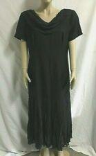 Women's LIZ CLAIBORNE Cowl Neckline Short Sleeve Pleated Black Dress ~ Size 16