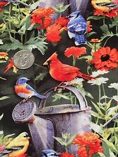 Fabric Birds Wild in Flowers with Watering Can on Cotton by the 1/4 Yard