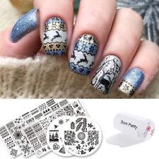 12 Pack Born Pretty Nail Art Kit Stamping Plate Stencil & Stamper & Scraper Tool