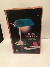 Bankers Lamp Green Shade Desk Student Table Office Polished Brass Base Vintage