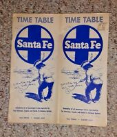Vintage Time Table SANTA FE RAILROAD 1966 Spring Summer route map