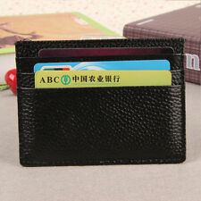 Men Women Genuine Leather Small Id Credit Card Wallet Holder Slim Pocket Case