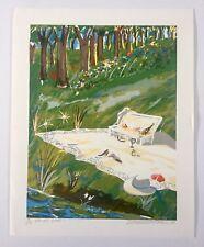 Luis Maisonet Ramos, Signed Wine Picnic Landscape Serigraph '94, Puerto Rico Art