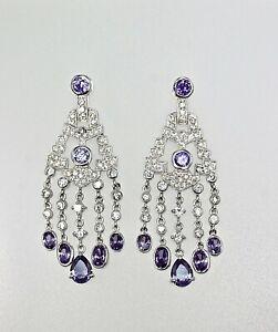 925 Sterling Silver Chandelier Earrings Cubic Zirconia Dangles CZ Rhodium Gift