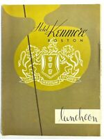 1954 HOTEL KENMORE BOSTON vintage luncheon menu MASSACHUSETTS mid-century modern