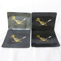 Couroc of Monterey Roadrunner Tray Inlaid Brass Wood Vtg MCM 7in by 6in Set of 4