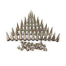 50PCS Silvery Cone Spikes Metallic Screw Back Studs DIY Craft Cool Rivets Pun...