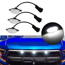 3pcs Clear Lens 12-SMD White LED Front Grille Running Lights Kit For Ford Raptor