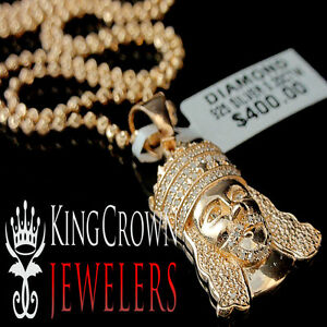Real Diamond Mini Jesus Face Crown Men Ladies Pendant Chain 10K Rose Gold Finish