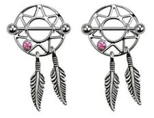 Pair Nipple rings Pink Dream catcher Shields dreamcatcher Jewelry piercing bar